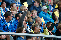 May 4, 2018 - Gent, BELGIUM - Gent's supporters showing red and yellow card as a protest against referee mistakes during the Jupiler Pro League match between KAA Gent and Sporting Charleroi, in Gent, Friday 04 May 2018, on day seven (out of ten) of the Play-Off 1 of the Belgian soccer championship. BELGA PHOTO KURT DESPLENTER (Credit Image: © Kurt Desplenter/Belga via ZUMA Press)