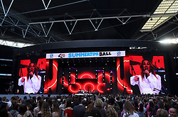 Ellie Goulding on stage during Capital's Summertime Ball. The world's biggest stars perform live for 80,000 Capital listeners at Wembley Stadium at the UK's biggest summer party.