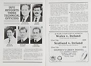 Irish Rugby Football Union, Ireland v Italy, Friendly, Landsdowne Road, Dublin, Ireland, Saturday 31st December, 1988,.31.12.1988, 12.31.1988,..Referee- R Megson, S.R U., ..Score- Ireland 31- 15 Italy,..Irish Team, ..P P A Danaher,  Wearing number 15 Irish jersey, Full Back, Garryowen Rugby Football Club, Limerick, Ireland, ..J F Sexton, Wearing number 14 Irish jersey, Right Wing, Lansdowne Rugby Football Club, Dublin, Ireland,..V Cunningham, Wearing number 13 Irish jersey, Right Centre, St Marys Rugby Football Club, Dublin, Ireland,..B J Mullin, Wearing number 12 Irish jersey, Left Centre, London Irish Rugby Football Club, London, England, ..K D Crossan, Wearing number 11 Irish jersey, Left Wing, Instonians Rugby Football Club, Ireland,..P M Dean, Wearing number 10 Irish jersey, Out Half, St Marys College Rugby Football Club, Dublin, Ireland,..F P Aherne, Wearing number 9 Irish jersey, Scrum Half, Lansdowne Rugby Football Club, Dublin, Ireland,..N P Mannion, Wearing number 8 Irish jersey, Forward, Corinthians Rugby Football Club, Ireland,..W D McBride, Wearing number 7 Irish jersey, Forward, Malone Rugby Football Club, Ireland, ..P M Mathews, Wearing number 6 Irish jersey, Captain of the Irish team, Forward, Wanderers Rugby Football Club, Dublin, Ireland,..N P Francis, Wearing number 5 Irish jersey, Forward, London Irish Rugby Football Club, London, England,  ..D G Lenihan, Wearing number 4 Irish jersey, Forward, Cork Constitution Rugby Football Club, Cork, Ireland,..J J Mcoy, Wearing number 3 Irish jersey, Forward, Bangor Rugby Football Club, Down, Northern Ireland,..S J Smith, Wearing number 2 Irish jersey, Forward, Ballymena Rugby Football Club, Antrim, Northern Ireland, ..T P J Clancy, Wearing number 1 Irish jersey, Forward, Lansdowne Rugby Football Club, Dublin, Ireland,..Italy Team, ..L Troiani, Wearing number 15 Italian jersey, Full Back, L'Aquila Rugby Football Club, Italy,..M Brunello, Wearing number 14 Italian jersey, Right Wing, Colli Euganei Rugby Footb