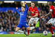 Manchester United Midfielder Nemanja Matic (31) brings down Chelsea midfielder Eden Hazard (10) during the The FA Cup match between Chelsea and Manchester United at Stamford Bridge, London, England on 18 February 2019.