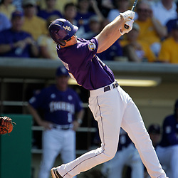 06 June 2009:  D.J. LeMahieu (17) of LSU connects for a double in the first inning during game two of the NCAA baseball Super Regional between the Rice Owls and the LSU Tigers at Alex Box Stadium in Baton Rouge, Louisiana.