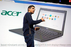 Sundar Pichai, senior vice president of Chrome at Google Inc., announces their new Chromebook line of laptops manufactured by Samsung Electronics Co. and Acer Inc.,during his keynote address at the Google I/O  developer's conference in San Francisco, California.