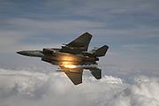 F-15 Eagle drops anti-missile flares