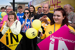 © Licensed to London News Pictures . 20/06/2016 . Dorset , UK . Staff and campaigners show their support for the IN campaign in the upcoming EU referendum , outside the LUSH factory in Poole . Photo credit : Joel Goodman/LNP
