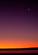 Crescent moon and sunrise, Bosque del Apache National Wildlife Refuge, Socorro, New Mexiico