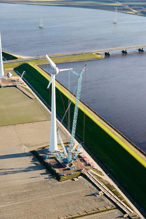 Nederland, Flevoland, Noordoostpolder, 28-02-2016; aanleg megawindmolen aan het Ketelmeer, ten zuiden van Urk, Ketelbrug in de achtergrond.<br /> Construction mega windmill on the Ketelmeer.<br /> <br /> luchtfoto (toeslag op standard tarieven);<br /> aerial photo (additional fee required);<br /> copyright foto/photo Siebe Swart