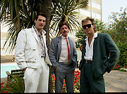 """Sade and Tony Hadley Interviews.  P92..1984.21.08.1984..08.21.1984..21st August 1984..As part of his interview sessions for """"Video File"""" for R.T.E., Marty Whelan interviewed international music stars. The interviews were held in the R.T.E.,studios and at various hotels throughout the city...Image shows R.T.E.,personality Marty Whelan (centre) with Spandau Ballet members Tony Hadley and Gary Kemp."""