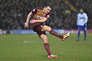 Bradford City Defender, Anthony McMahon during the The FA Cup third round match between Bury and Bradford City at Gigg Lane, Bury, England on 9 January 2016. Photo by Mark Pollitt.