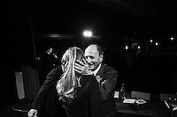 """BAGHERIA,  ITALY - 10 FEBRUARY 2013: Gabriella Giammanco (35), Sicilian candidate for the Parliament in Silvio Berlusconi's People of Freedom party (PdL, Popolo della Libertà), organizes a convention with President of Senate Renato Schifani, candidate for Parliament Francesco Scoma, candidate for Senate Simona Vicari, regional PdL coordinator Dore Misuraca and regionally deputy Francesco Cascio, in Bagheria, Sicily, Italy, on 10 February 2013.<br /> <br /> A general election to determine the 630 members of the Chamber of Deputies and the 315 elective members of the Senate, the two houses of the Italian parliament, will take place on 24–25 February 2013. The main candidates running for Prime Minister are Pierluigi Bersani (leader of the centre-left coalition """"Italy. Common Good""""), former PM Mario Monti (leader of the centrist coalition """"With Monti for Italy"""") and former PM Silvio Berlusconi (leader of the centre-right coalition).<br /> <br /> ###<br /> <br /> BAGHERIA,  ITALIA - 10 FEBBRAIO 2013: Gabriella Giammanco (35 anni), candidata nella circoscrizione Sicilia 1 per il parlamento con il Popolo della Libertà, organizza una convention con il Presidente del Senato Renato Schifani, il candidato al Parlamento Francesco Scoma, il candidato al Senato Simona Vicari, il coordinatore regionale del PdL Dore Misuraca e il deputato regionale Francesco Cascio, a Bagheria il 10 febbraio 2013.<br /> <br /> Le elezioni politiche italiane del 2013 per il rinnovo dei due rami del Parlamento italiano – la Camera dei deputati e il Senato della Repubblica – si terranno domenica 24 e lunedì 25 febbraio 2013 a seguito dello scioglimento anticipato delle Camere avvenuto il 22 dicembre 2012, quattro mesi prima della conclusione naturale della XVI Legislatura. I principali candidate per la Presidenza del Consiglio sono Pierluigi Bersani (leader della coalizione di centro-sinistra """"Italia. Bene Comune""""), il premier uscente Mario Monti (leader della coalizione di centro """"Con Monti per l'Ita"""