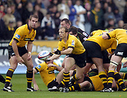 Northampton, Northamptonshire, 2nd October 2004 Northampton Saints vs London Wasps, Zurich Premiership Rugby, Franklyn Gardens, [Mandatory Credit: Peter Spurrier/Intersport Images],<br /> Wasps Matt Dawson distributes the ball from the base of the scrum. Joe Worsley looks on. <br /> email images@intersport-images.com