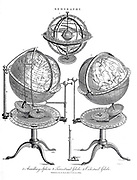 1. Armillary Sphere; 2. Terrestrial Globe; 3. Celestial Globe; Copperplate engraving From the Encyclopaedia Londinensis or, Universal dictionary of arts, sciences, and literature; Volume VIII;  Edited by Wilkes, John. Published in London in 1810.