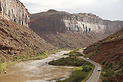 SHOT 5/7/16 8:16:10 AM - Moab is a city in Grand County, in eastern Utah, in the western United States. Moab attracts a large number of tourists every year, mostly visitors to the nearby Arches and Canyonlands National Parks. The town is a popular base for mountain bikers and motorized offload enthusiasts who ride the extensive network of trails in the area. Includes images of Scenic Byway 128, Fisher Towers and downtown Moab. (Photo by Marc Piscotty / © 2016)