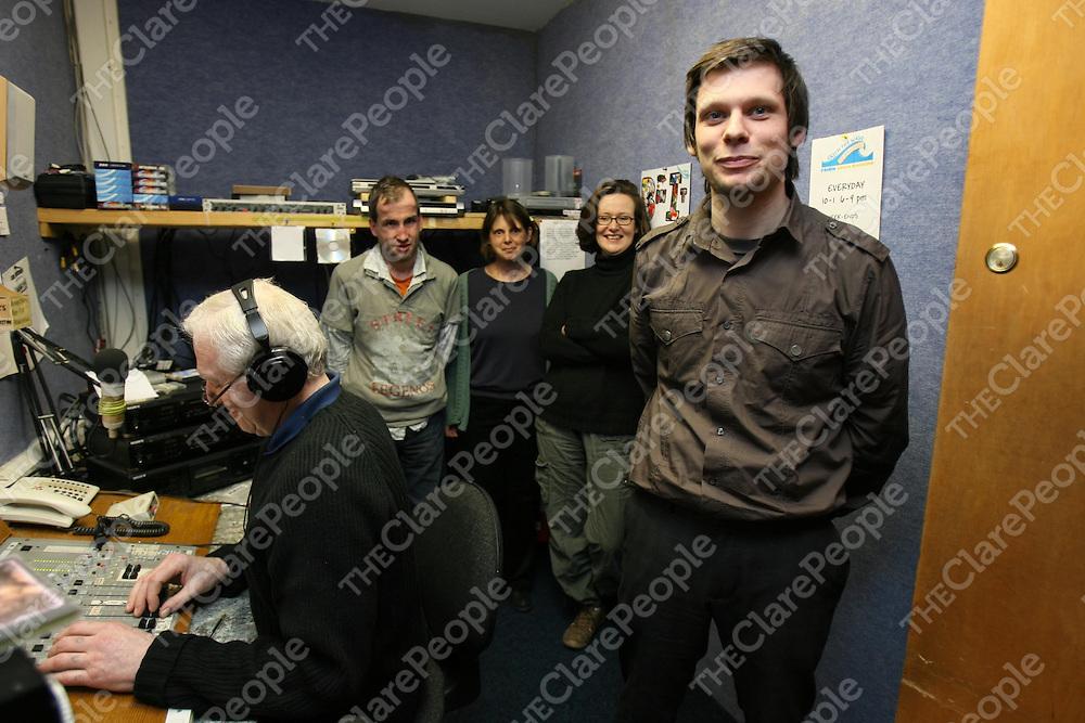 Ciaran Ryan (right ) with Senan Garvey,Barry Nolan,Anne Marie Callan and Sally Ann Marron at Eiri Corca baiscinn Radio Station.<br /> <br /> Photograph by Eamon Ward