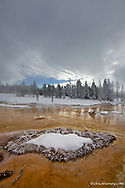 Bacteria Mat in the Lower Geyser Basin in winter in Yellowstone National Park