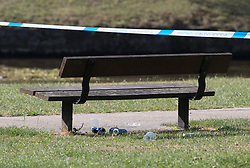 © Licensed to London News Pictures. 06/07/2018. Salisbury, UK. Discarded beer cans and plastic cups are seen under a bench in Queen Elizabeth Gardens in Salisbury town centre after couple, named locally as Dawn Sturgess, 44, and her partner Charlie Rowley, 45, were taken ill on Saturday 30th June 2018. Police have confirmed that the couple have been in contact with Novichok nerve agent. Former Russian spy Sergei Skripal and his daughter Yulia were poisoned with Novichok nerve agent in nearby Salisbury in March 2018. Photo credit: Peter Macdiarmid/LNP