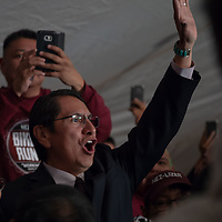 2018 Navajo Nation President Johnthan Nez enters his campaign tent with his family and friends, as they await the final results of the Navajo Nation Presidential election on Tuesday in Window Rock.