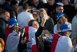 © Licensed to London News Pictures. 22/06/2021. London, UK. England fans watch on nervously during the Euro 2020 group game between Czech Republic and England at Skylight Rooftop in Tobacco Dock, east London. Photo credit: Ben Cawthra/LNP