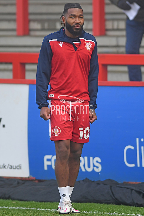portrait Stevenage forward Tyrone Marsh(10) during the FA Cup match between Stevenage and Swansea City at the Lamex Stadium, Stevenage, England on 9 January 2021.