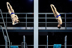 Jack Laugher and Chris Mears of Great Britain in action in the Mens 3m Synchronised Springboard Final - Photo mandatory by-line: Rogan Thomson/JMP - 07966 386802 - 22/08/2014 - SPORT - DIVING - Berlin, Germany - SSE im Europa-Sportpark - 32nd LEN European Swimming Championships 2014 - Day 10.