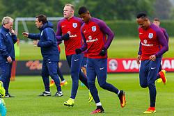 © Licensed to London News Pictures. 01/06/2016. London, UK. England's WAYNE ROONEY and KYLE WALKER train with England team at Watford Training Ground on Wednesday, 1 June 2016, ahead of the Euro 2016 in France. Photo credit: Tolga Akmen/LNP