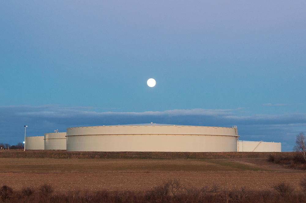 Full Moon & Oil Tanks<br /> Riverhead, Long Island
