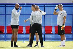 July 8, 2018 - Moscou, Russie - Thierry Henry ass. coach of Belgian Team and Erwin Lemmens goalkeeping coach of Belgian Team and Roberto Martinez head coach of Belgian Team (Credit Image: © Panoramic via ZUMA Press)