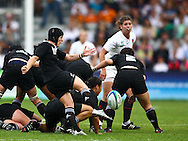 5th September 2010, Twickenham Stoop, London, England: Emma Jensen of England kicks clear during the IRB Women's Rugby World Cup final between England and New Zealand Black Ferns. New Zealand won 13-10, capturing the trophy for the 4th time.  (Photo by Andrew Tobin www.slikimages.com)