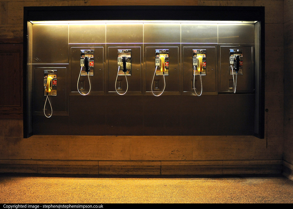 © licensed to London News Pictures. New York, USA  29/05/11.  Telephones at Grand Central Station. Photo credit should read Stephen Simpson/LNP