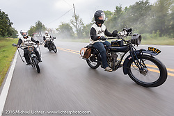 Justin Rinker riding his 1916 Indian with twin brother Jared and father Steve riding behind on their 2016 Indians during the Motorcycle Cannonball Race of the Century. Stage-5 from Bloomington, IN to Cape Girardeau, MO. USA. Wednesday September 14, 2016. Photography ©2016 Michael Lichter.