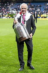 River Plate president Rodolfo D'Onofrio posing with Championship cup after Commebol Final Match between River Plate and Boca Juniors at Santiago Bernabeu Stadium in Madrid, Spain. December 9, 2018. Photo by Borja B.Hojas/AlterPhotos/ABACAPRESS.COM)