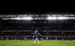 Chelsea's Marcos Alonso under the lights of Stamford Bridge