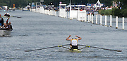 Henley on Thames. United Kingdom. Final,  Diamond Challenge Sculls, BEL M1X Hannes OBRENO's , celebrates with a  splash the water after beating NZL M1X. Mahe DRYSDALE,  in the final, Sunday,  03/07/2016,      2016 Henley Royal Regatta, Henley Reach.   [Mandatory Credit Peter Spurrier/Intersport Images]