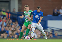 LIVERPOOL, ENGLAND - Tuesday, August 23, 2016: Everton's Ramiro Funes Mori in action against Tom Eaves of Yeovil Town during the Football League Cup 2nd Round match at Goodison Park. (Pic by Gavin Trafford/Propaganda)