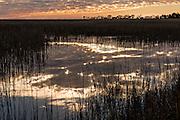 Sunrise over Botany Bay and marsh in Edisto Island, South Carolina.