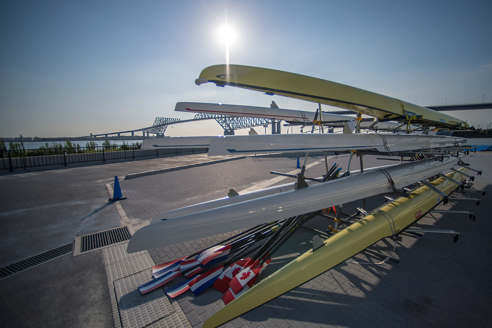 Sun rises over the boat park <br /> <br /> Qualification races and training at the 2019 Junior Worlds, on the Sea Forest Waterway, Tokyo, Japan. Friday 9 August 2019  © Copyright photo Steve McArthur / www.photosport.nz