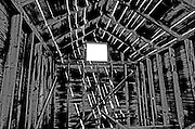 Farm shed interior in a ghost town<br /> Fusiler<br /> Saskatchewan<br /> Canada