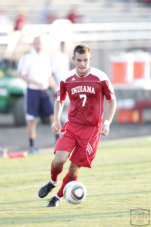 22 August 2010: Indiana midfielder Harrison Petts (7) as the Indiana Hoosiers played Xavier in a college soccer game in Bloomington, Ind.