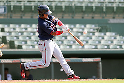 July 17, 2018 - Sarasota, FL, U.S. - Sarasota, FL - JUL 17: Estamy Urena (15) of the Twins at bat during the Gulf Coast League (GCL) game between the GCL Twins and the GCL Orioles on July 17, 2018, at Ed Smith Stadium in Sarasota, FL. (Photo by Cliff Welch/Icon Sportswire) (Credit Image: © Cliff Welch/Icon SMI via ZUMA Press)