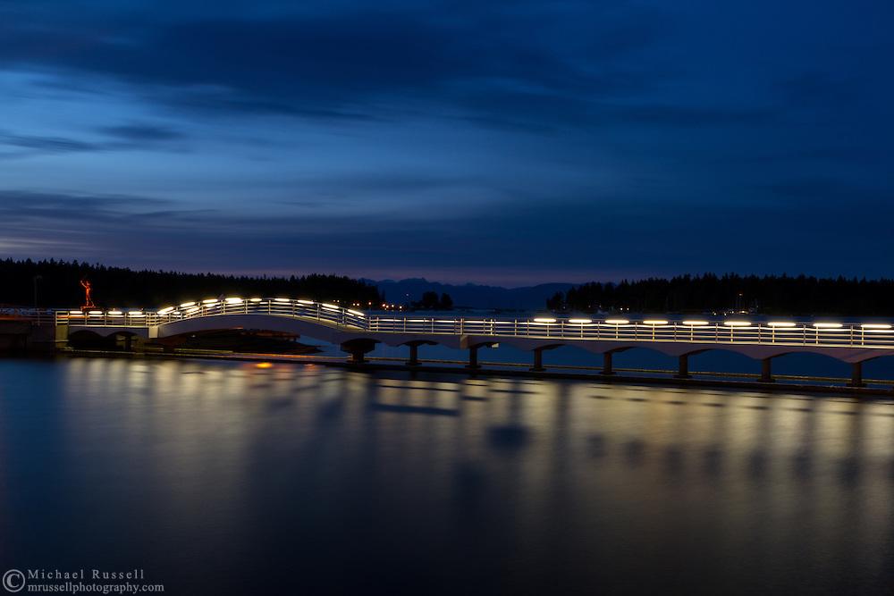 A long exposure at the pedestrian bridge in Maffeo Sutton Park in Nanaimo, British Columbia, Canada