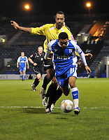 Photo: Tony Oudot/Richard Lane Photography. Gillingham v Burton Albion. FA Cup 2nd Round. 28/11/2009. <br /> Andy Barcham breaks for Gillingham