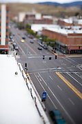 A view down Higgins Avenue in Missoula Montana using a tilt-shift lens. Missoula Photographer, Missoula Photographers, Montana Pictures, Montana Photos, Photos of Montana