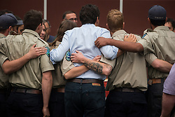 Prime Minister Justin Trudeau, centre, poses for a photograph with British Columbia Wildfire Service staff during a visit to the Prince George Fire Centre, in Prince George, B.C., on Thursday August 23, 2018. Photo by Darryl Dyck/CP/ABACAPRESS.COM