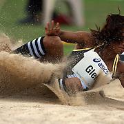 Brianna Glenn, USA, finishing second in the Women's long jump event at the Sydney Track Classic 2009 held at Sydney Olympic Park Athletics Centre, Sydney, Australia on February 28, 2009. Photo Tim Clayton