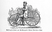 McCall's Copy of McMillan's Rear Drive - 1840 From Wheels and Wheeling; An indispensable handbook for cyclists, with over two hundred illustrations by Porter, Luther Henry. Published in Boston in  1892