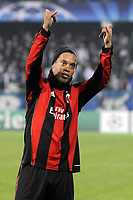 FOOTBALL - CHAMPIONS LEAGUE 2010/2011 - GROUP STAGE - GROUP G - AJ AUXERRE v MILAN AC - 23/11/2010 - PHOTO JEAN MARIE HERVIO / DPPI -  JOY RONALDINHO (MIL) AT THE END OF THE MATCH