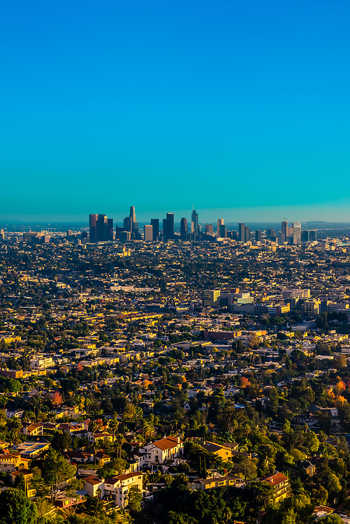 High angle view over Los Angeles looking to Downtown, California USA.