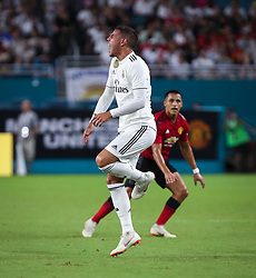 July 31, 2018 - Miami Gardens, Florida, USA - Real Madrid C.F. defender Theo Hernandez (15) reacts in pain to a foul during an International Champions Cup match between Real Madrid C.F. and Manchester United F.C. at the Hard Rock Stadium in Miami Gardens, Florida. Manchester United F.C. won the game 2-1. (Credit Image: © Mario Houben via ZUMA Wire)
