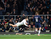 Twickenham, United Kingdom, Saturday, 16th March 2019,  RFU,  Englands, Jonny MAY, dives in for  a first-half try, during the Guinness Six Nations match, England vs Scotland  Rugby, Stadium, England,   © Peter Spurrier,