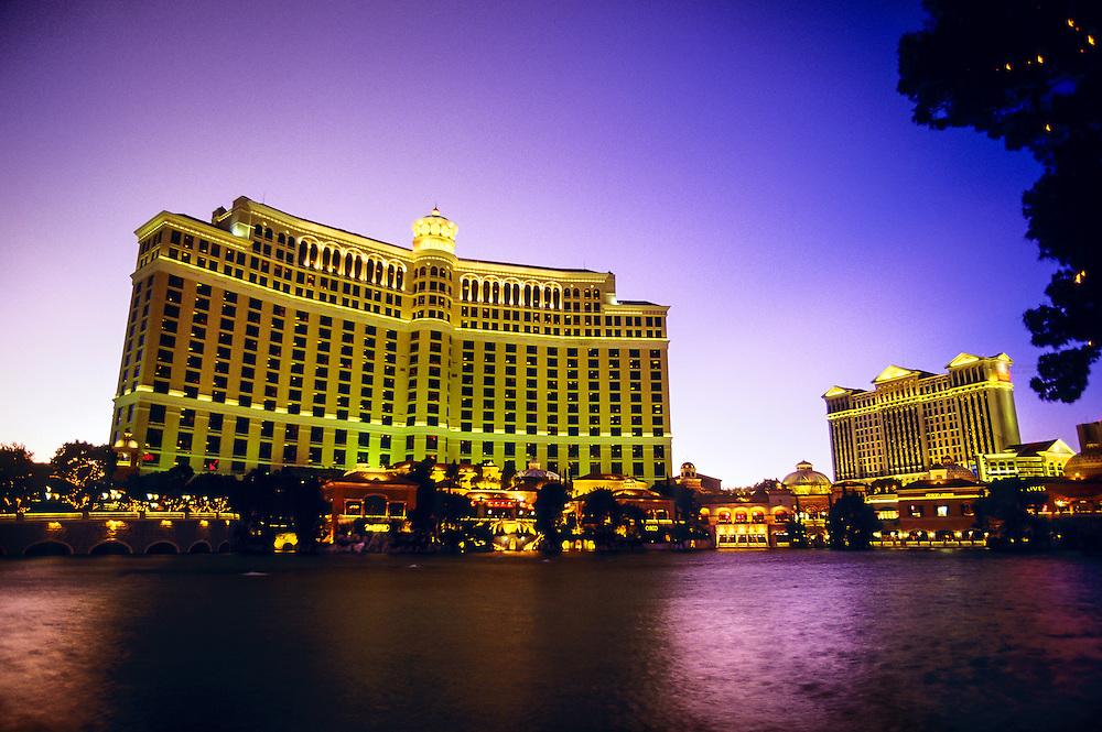 The Bellagio (Caesar's Palace on the right), Las Vegas Boulevard (The Strip), Las Vegas, Nevada USA