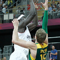 31 July 2012: Great Britain Pops Mensah-Bonsu goes for the layup during 67-62 Team Brazil victory over Team Great Britain, during the men's basketball preliminary, at the Basketball Arena, in London, Great Britain.